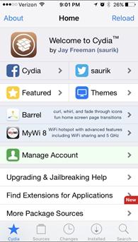 Cydia home page