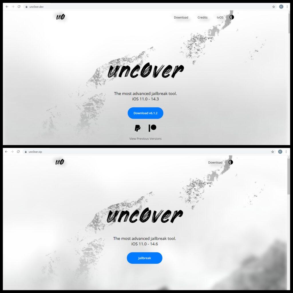 unc0ver.vip_vs_unc0ver.dev
